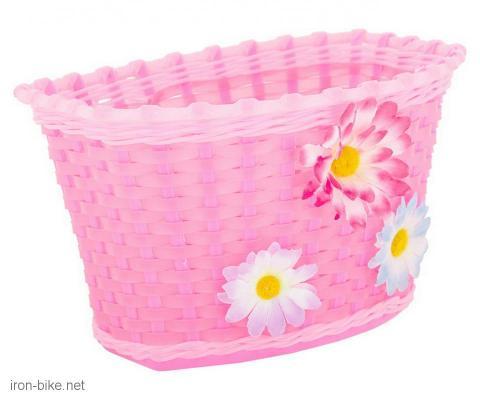 prednja korpica pvc pletena za dečije bicikle roza - 3197116